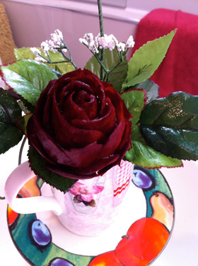 Beginner student makes Beet Rose Carving in Coffee Cup by Ali Tahir Butt