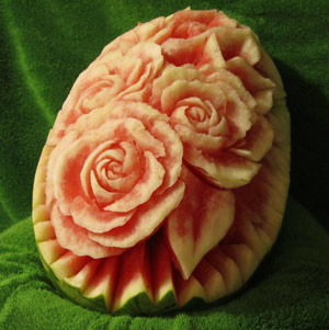 watermelon carving by Avi Livne - after watching one of  Nita's Vegetable and Fruit Carving video lessons