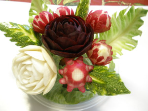 Beet Rose and Turnip Rose Carvings arranged in a Bouquet with Radish Flowers
