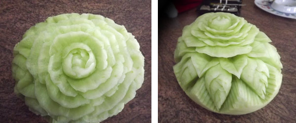 Watermelon rose pattern carved on honeydew