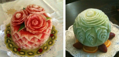 Carved Watermelon rose cake and honeydew rose