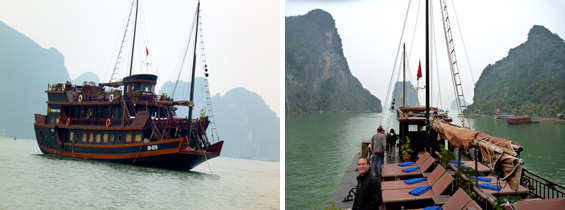A cruise through Halong Bay, Vietnam with exotic fruit carvings