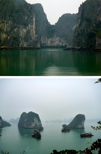 Limestone caves in Halong Bay, Vietnam: Guests are served dinner with exotic fruit carvings