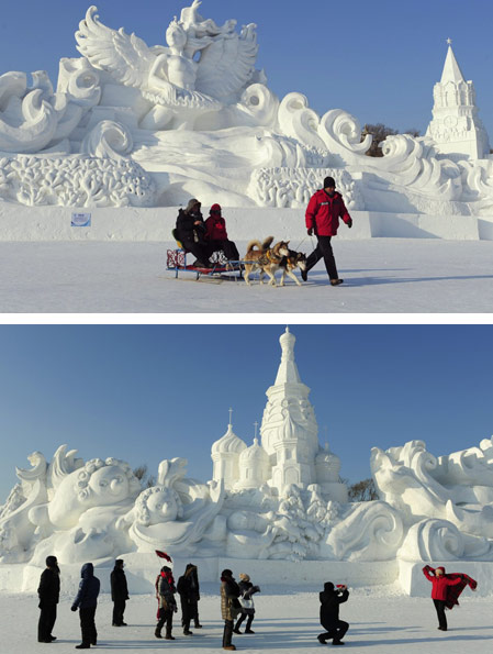 Ice carving at the spectacular snow festival in china