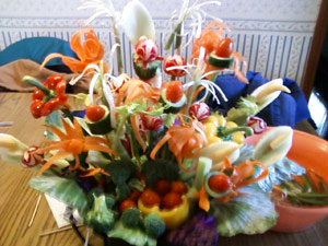 Rhonda's vegetable bouquet arrangement