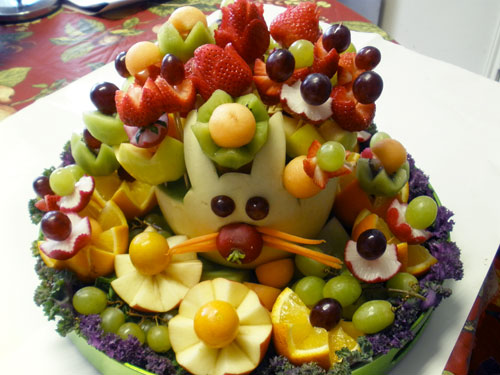 Melon bunny fruit arrangement