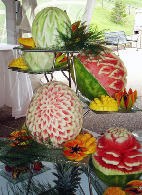 Fruit carvings by Chef Jim Morgan