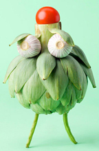 Fun food Art using Artichoke by Carl Kleiner