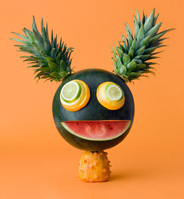 fun food art by carl kleiner with fruits and vegetables. Black Bedroom Furniture Sets. Home Design Ideas