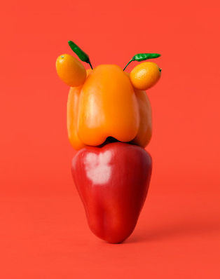 Fun food art with peppers by Carl Kleiner