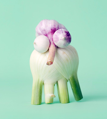 Fun food art with fennel and garlic by Carl Kleiner