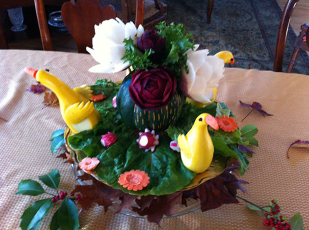 Squash and Beet rose Vegetable Fruit Carvings