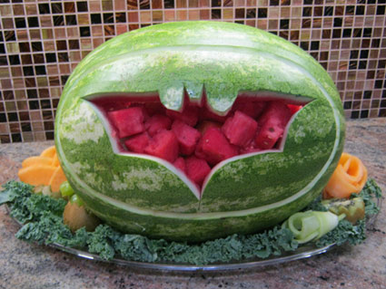 fruit and vegetable carvings |Watermelon Fun Fruit Carving with Batman Logo