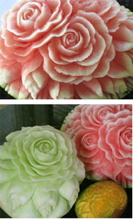 Carved Watermelon, honeydew and mango carve with roses, buds and leaves as shown in the Carving Watermelon lessons.