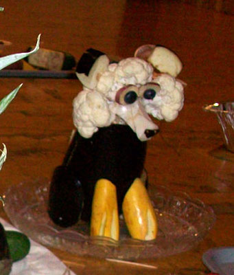Dog made of cauliflower, eggplant and squash