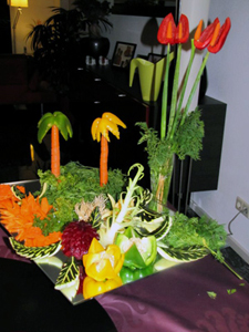 Fruit Carvings with pepper trees by Amali