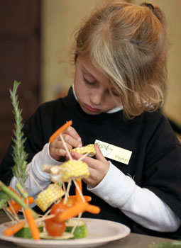 vegetable activities - engrossed girl