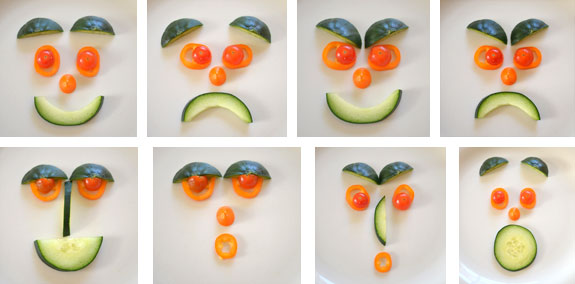 Various expressions made with a few vegetables