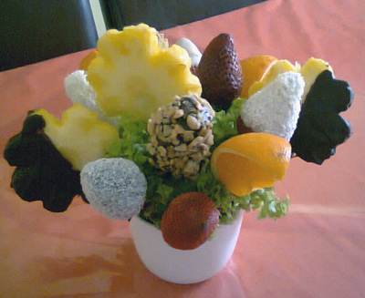 Fruit arrangements with chocolate dipped fruit