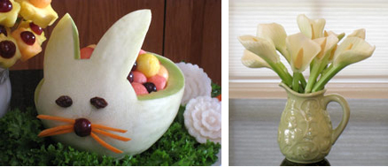 Edible melon bunny and lilies