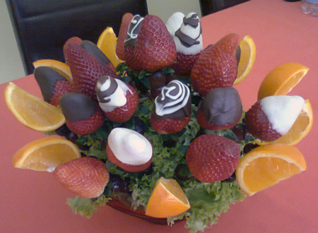 Fruit Arrangements with Chocolate dipped strawberries