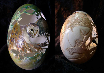 Egg shells food art by Christel Assante