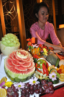 Thai fruit display for New Year Celebration