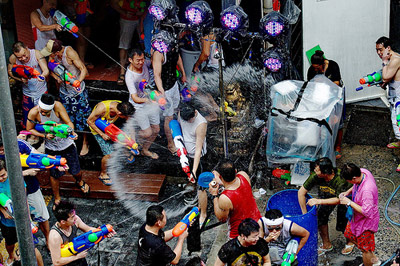 Water Festival activities on the streets of Thailand