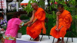 Monks participating in Water Festival in Thailand