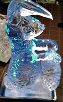 Ice bunny carving by David Utley