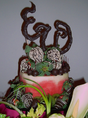 Fruit Carvings with Chocolate Dipped Strawberries