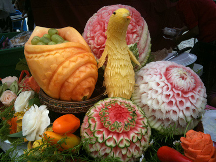Tammy's fruit carvings for Songkran Festival