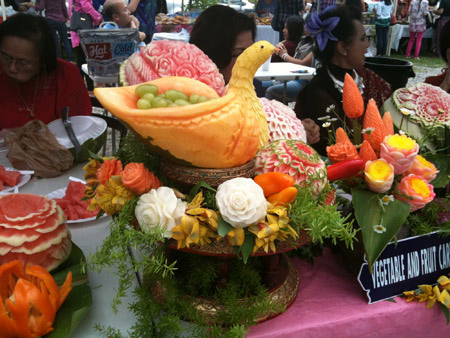 Songkran Festival fruit carving by Tammy