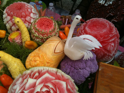 Daikon bird carving for Songkran Festival