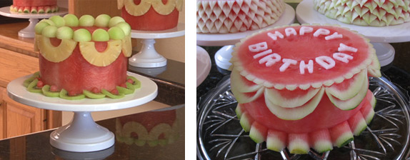 Easy and Happy Birthday Carved watermelon cakes