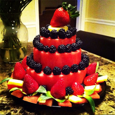 Watermelon cakes three tiered by Judy