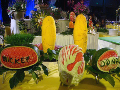 Vegetable and Fruit carvings Disney characters