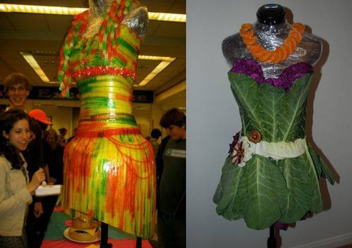 Food fashion candy and lettuce dresses