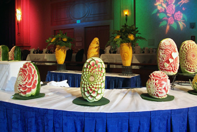 Fruit carvings displat at Disneyland Resorts