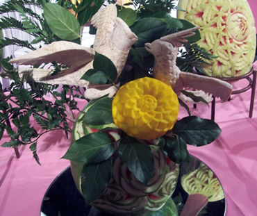 Taro root fruit carvings birds