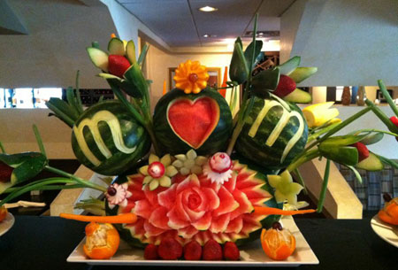 Mother's Day watermelon carvings