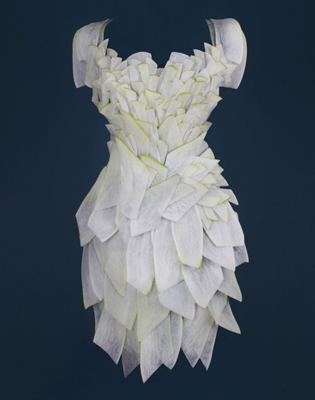 Food Fashion white radish dress by Yeonju