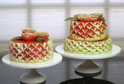 Intermediate 2 tier carved watermelon cakes