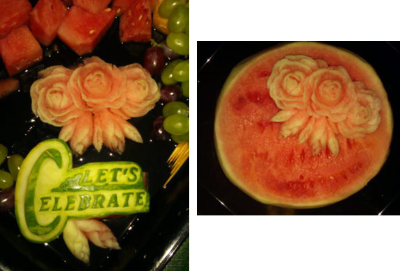 Rose Flores' first watermelon carvings of roses, buds and leaves