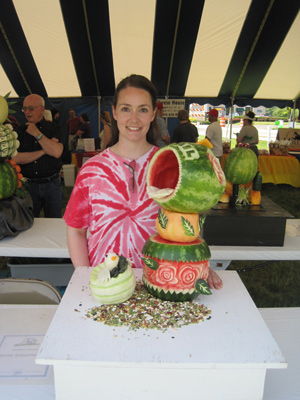 Third place fruit and vegetable carving in amateur category by Jayme Schumacher-Moore