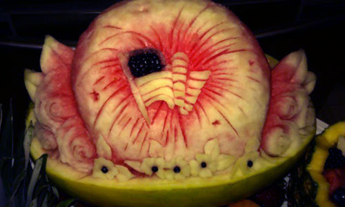American flag watermelon carving for the th of july