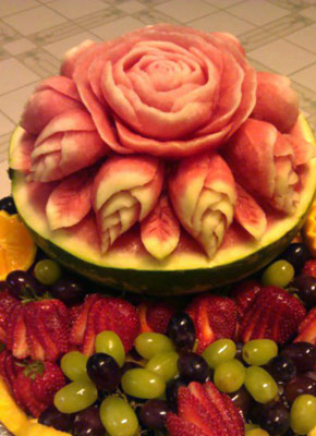 Carved Watermelon Rose Fruit Bowl
