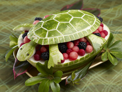 Turtle carving for National watermelon Day