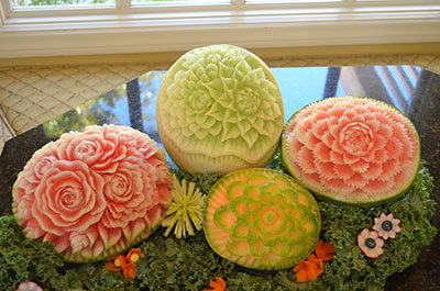 Melons Carved for San Diego Living TV Show