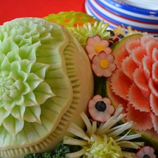 melon carving centerpiece